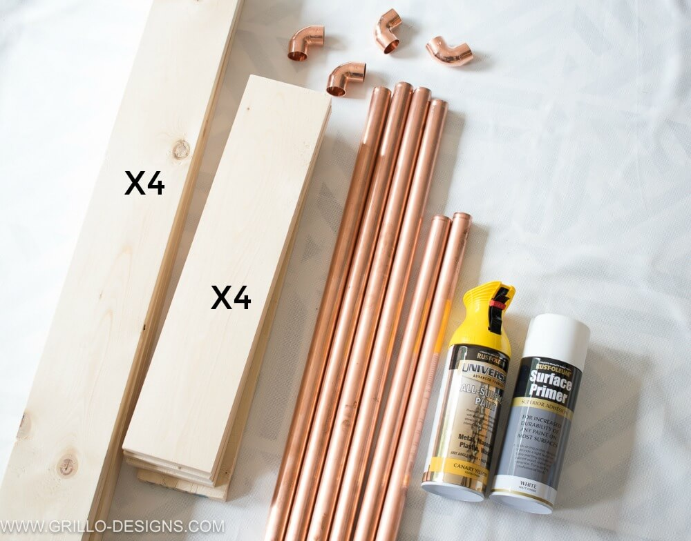 Materials needed to make a rolling bar cart / Grillo Designs