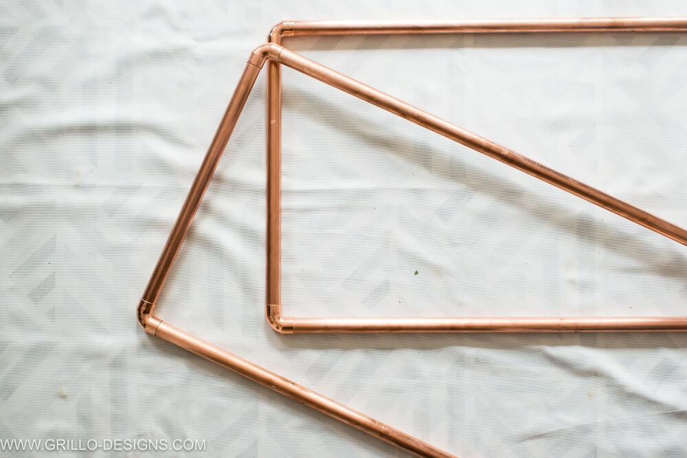 Completed copper pipes for diy rolling bar cart / grillo designs