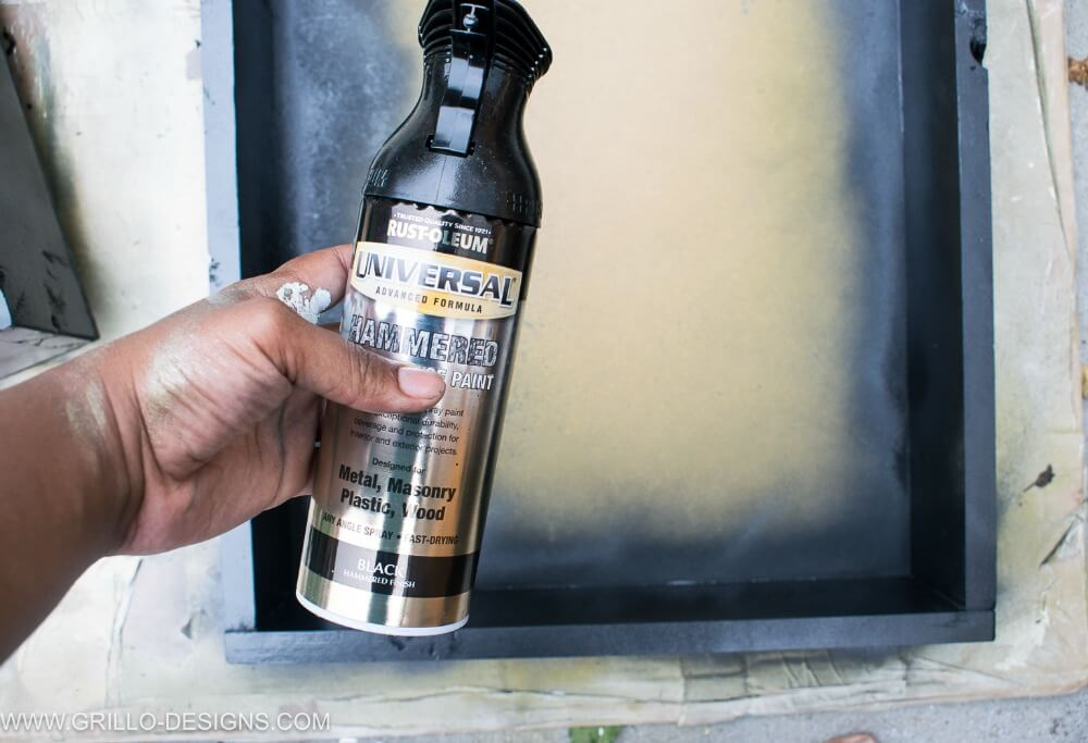 Using hammered rustoleum for the rolling bar cart top coat / grillo designs