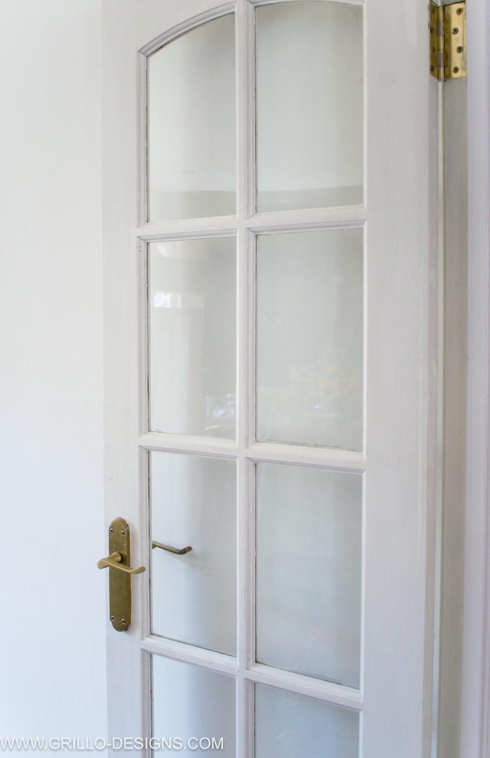 Paint glass panel doors DIY - photo of the glass panel door when it was white