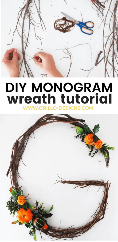 DIY MONOGRAM WREATH -Learn how to create a diy fall monogram wreath / grillo designs