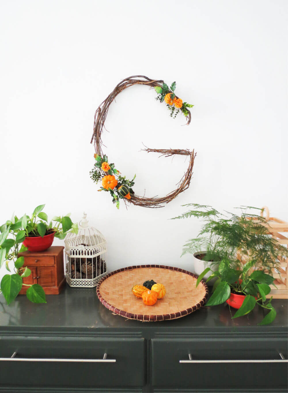 DIY monogram wreath for Autumn / grillo designs