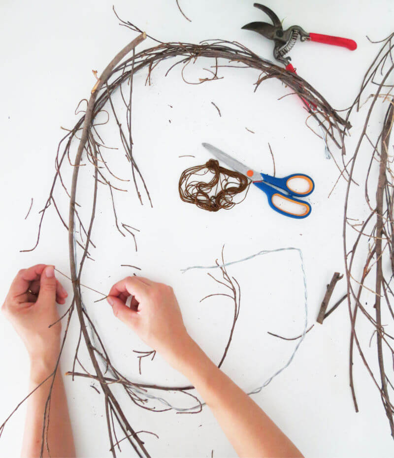 Create a fall monogram wreath using twigs / grillo designs