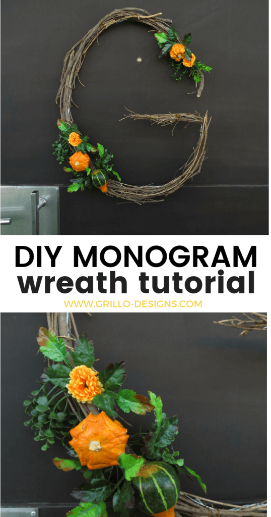DIY MONOGRAM WREATH - When you're decorating your home for fall, don't forget to add a monogram wreath. It's a pretty decor element that you can either hang on your front door or on the interior walls of your home.