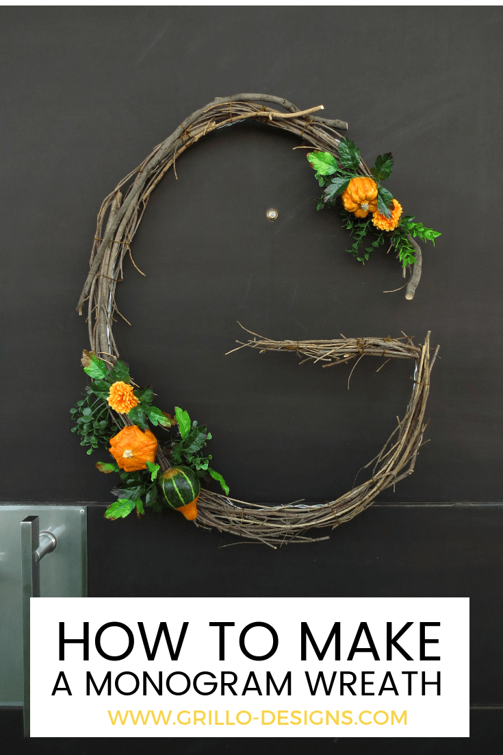 Learn how to create a fall monogram wreath for your front door / grillo designs