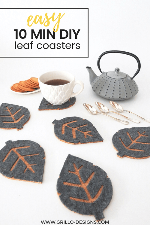 10 Min DIY Cork Coasters (with FREE leaf templates)