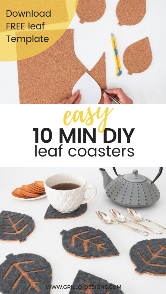 DIY CORK COASTERS - Learn how to make these easy fall inspired leaf coasters in under 10 mins