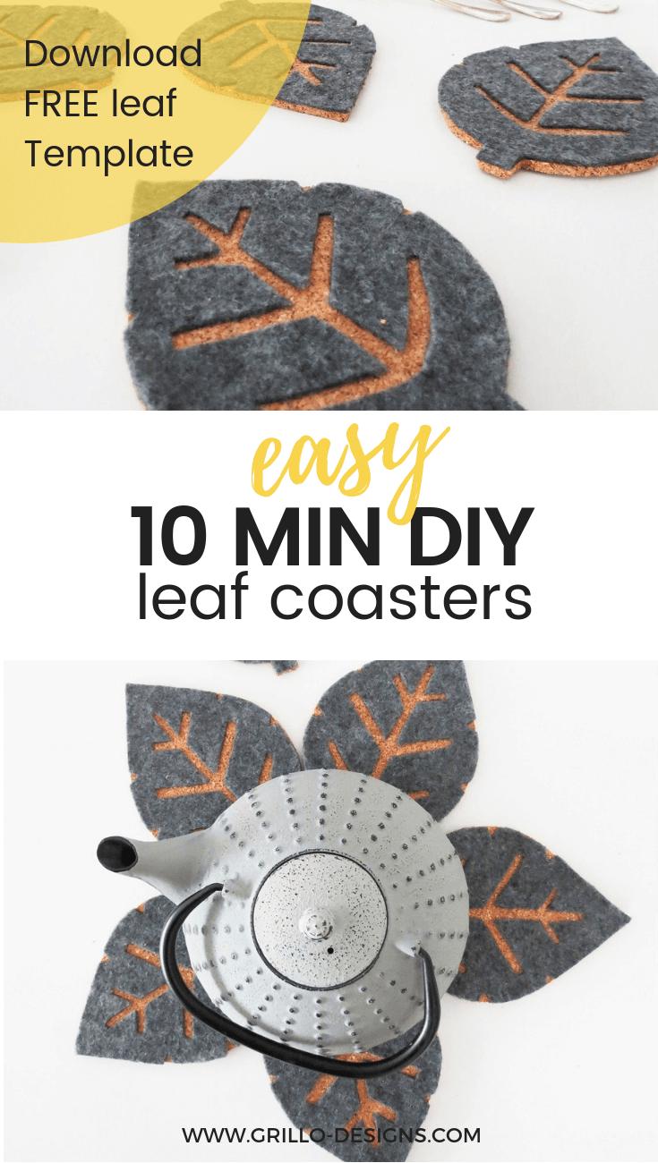 10 Min Diy Cork Coasters With Free Leaf Templates Grillo Designs