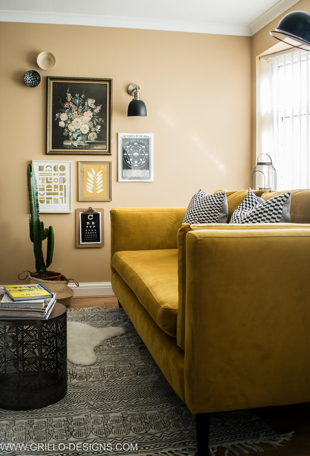 Styles yellow velvet sofa in living room / grillo designs