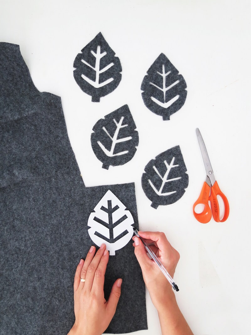 Draw leaf shapes from felt to make diy cork coasters /grillo designs