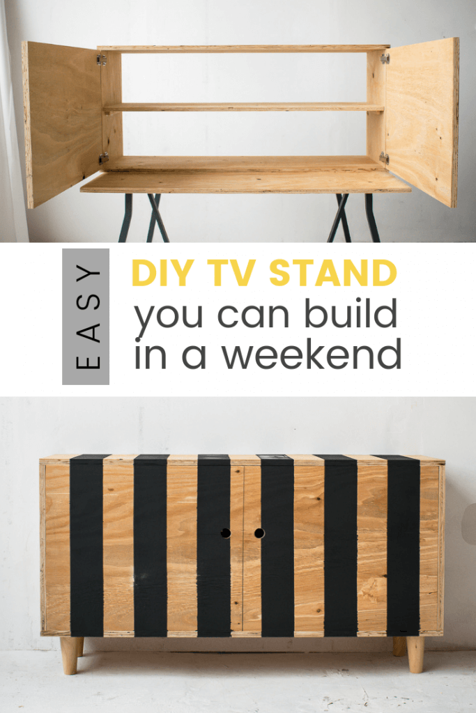 How to make a modern diy tv stand with black stripes
