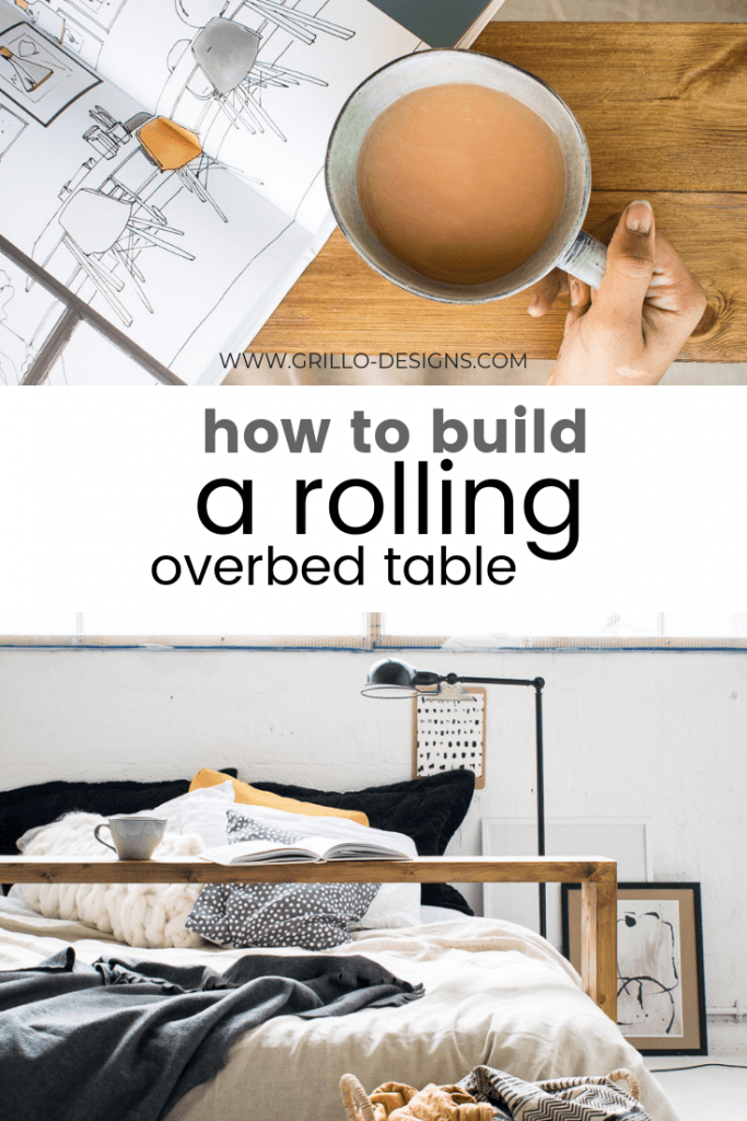 Pinterest image for how to build an overbed table tutorial