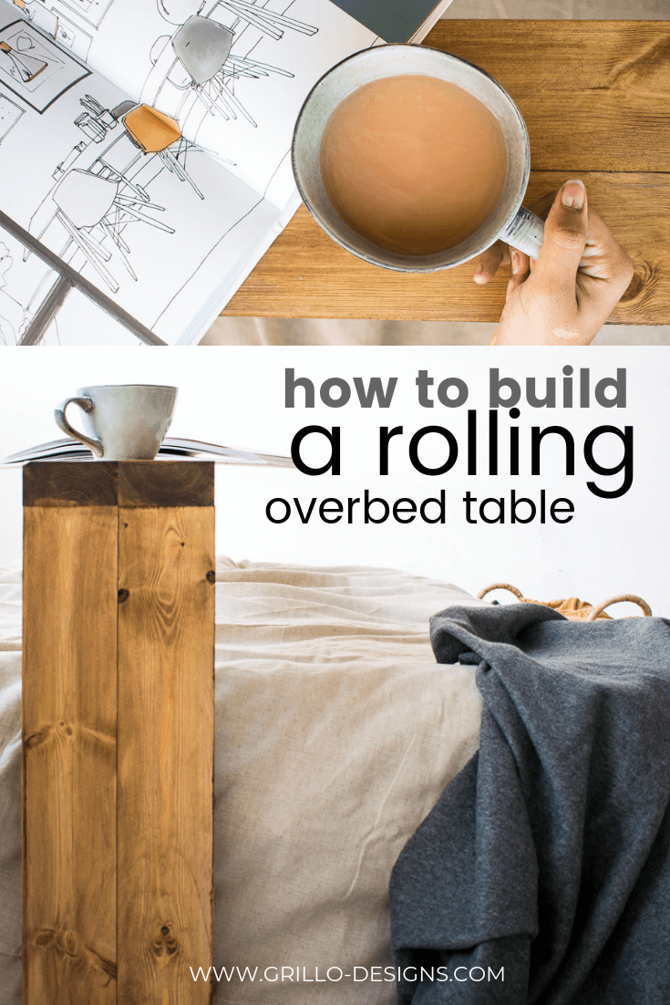 Pinterest image of the overbed table from above and side angle view