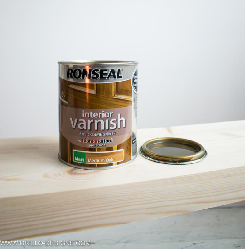 Medium oak varnish used to stain the overbed table