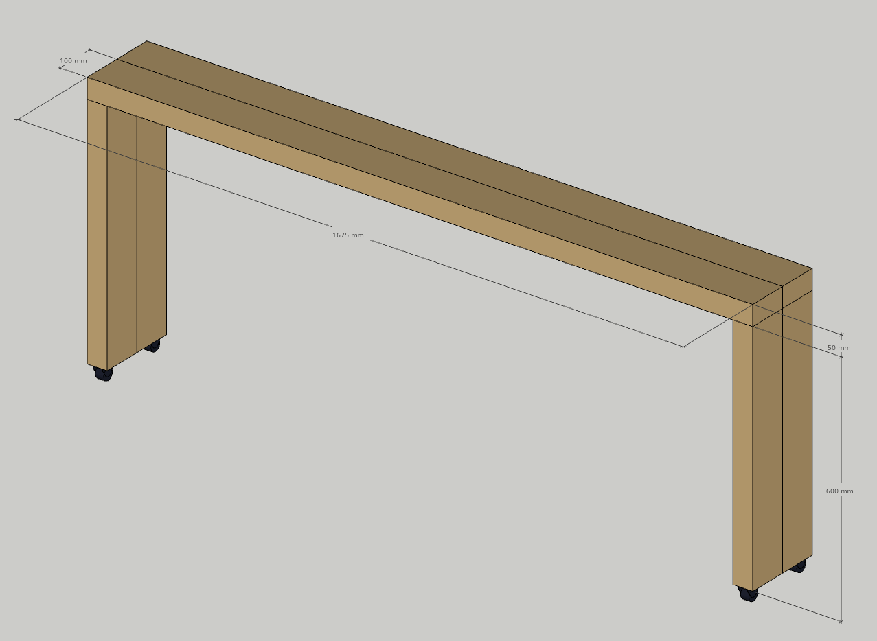 Sketup image of the overbed table with dimensions