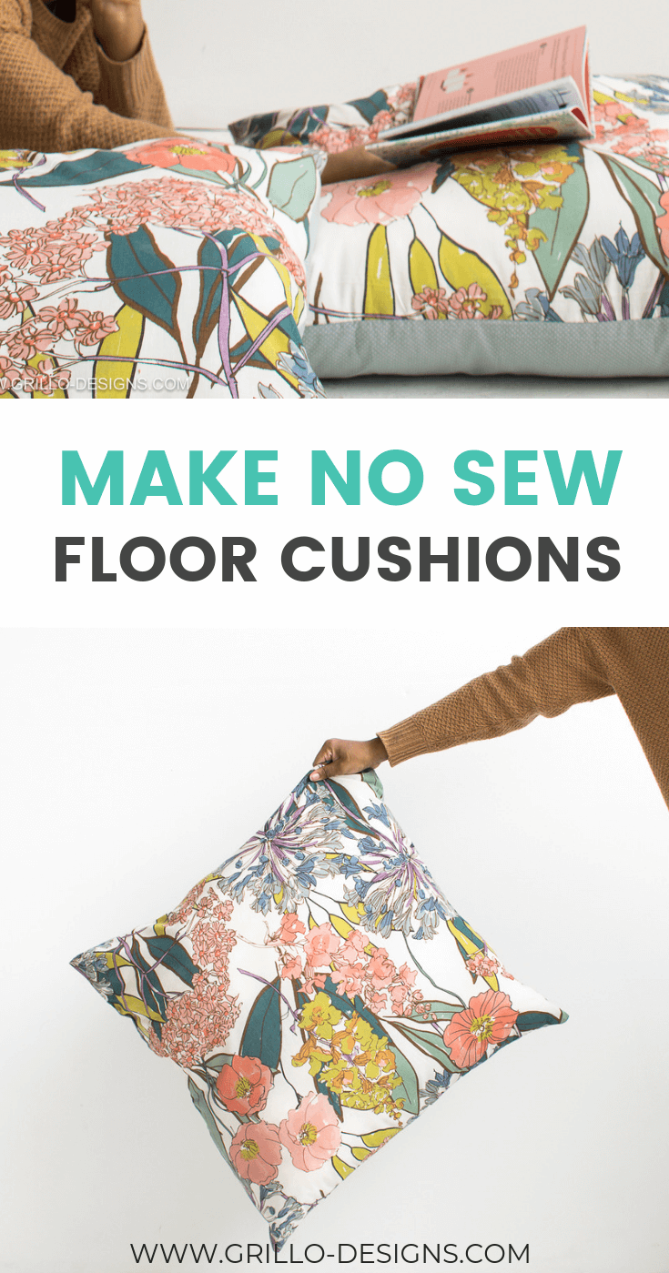 Pinterest image of no sew large floor questions