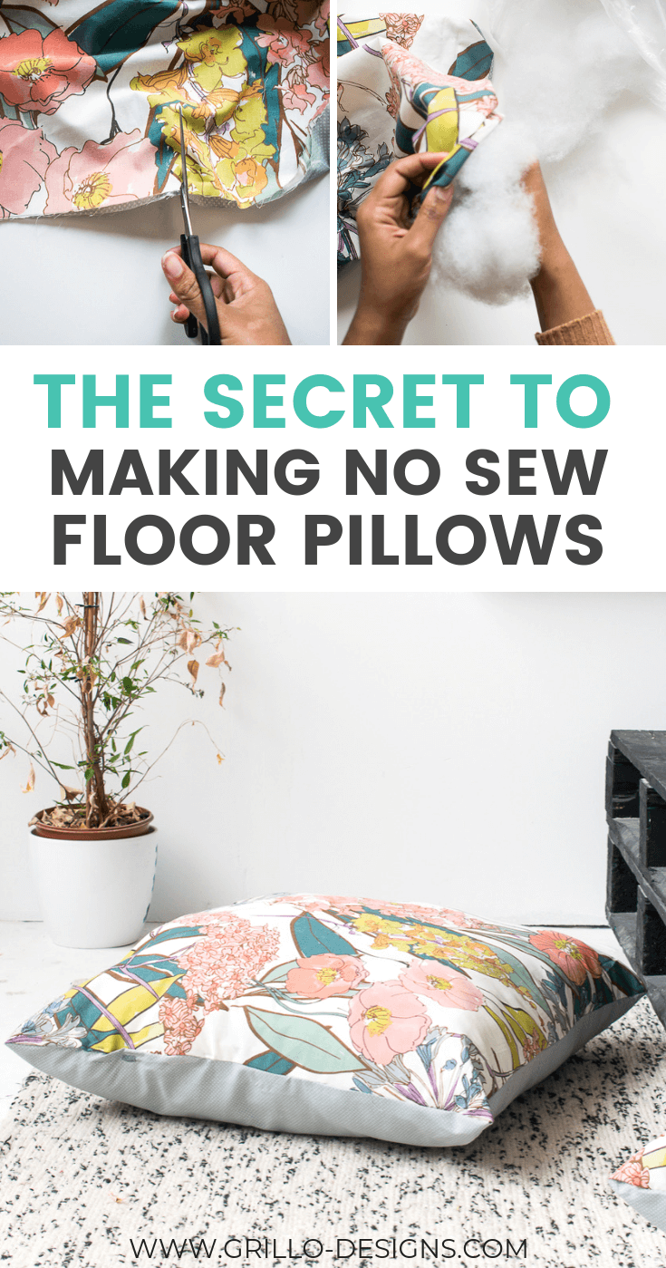 pinterest image of diy large floor cushions