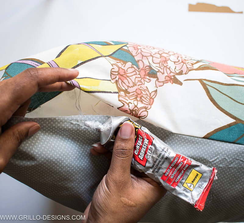 Apply contact adhesive glue to the openings of the diy large floor cushions
