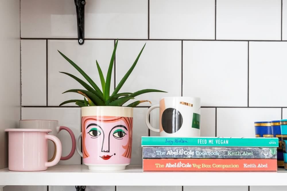 A colourful rental: Open plan kitchen shelving styled with cups, plants and books