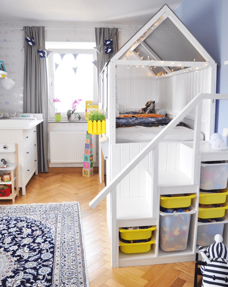 ikea trofast hacks - trofast used as stepping ladder to a loft bed in a kids bedroom