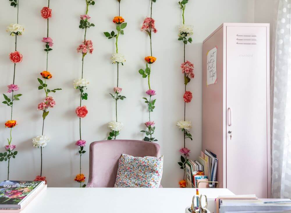Decorate with Pink Home tour: DIY flower feature wall in the office. Pink chair and white desk situated in front of the feature wall