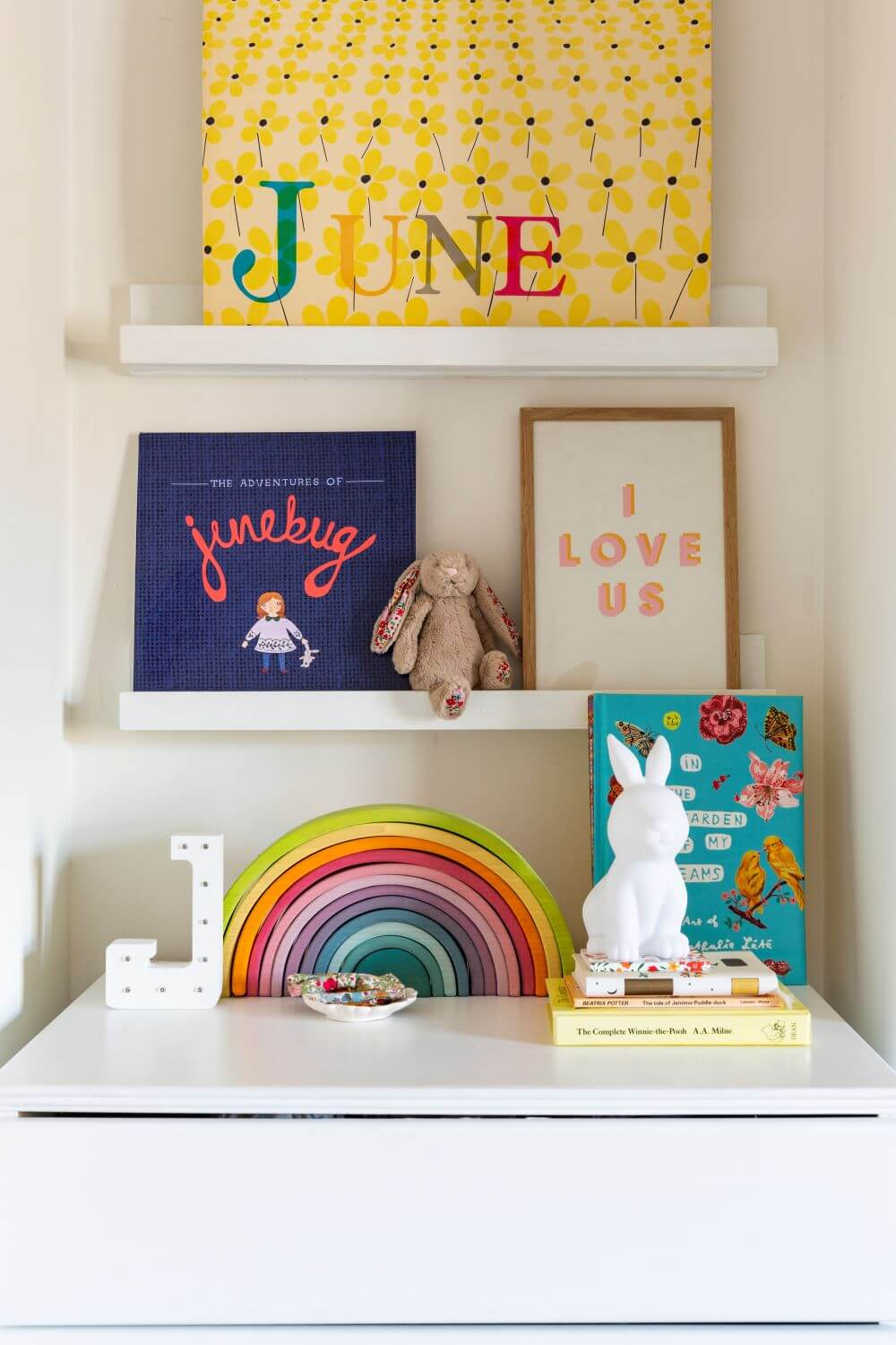 Decorate with Pink Home tour: diy picture shelves ,made form mdf wood and painted white. Styles with colourful decor.