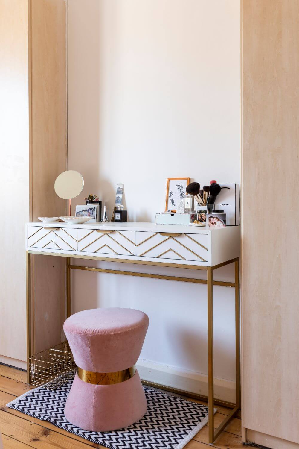 Decorate with Pink Home tour: Dresser unit in between wardrobes in master bedroom