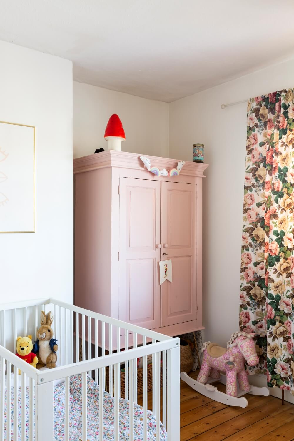 Decorate with Pink Home tour: Large vintage furniture painted a pink color with hairpin legs.