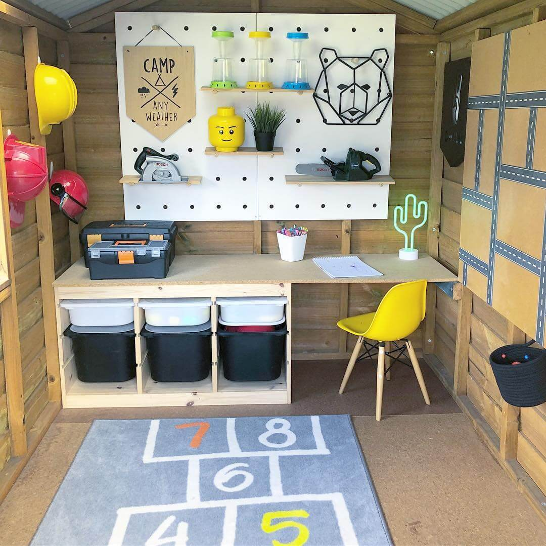IKEA TROFAST HACKS - trofast units used to create a childrens desk area in a shed.