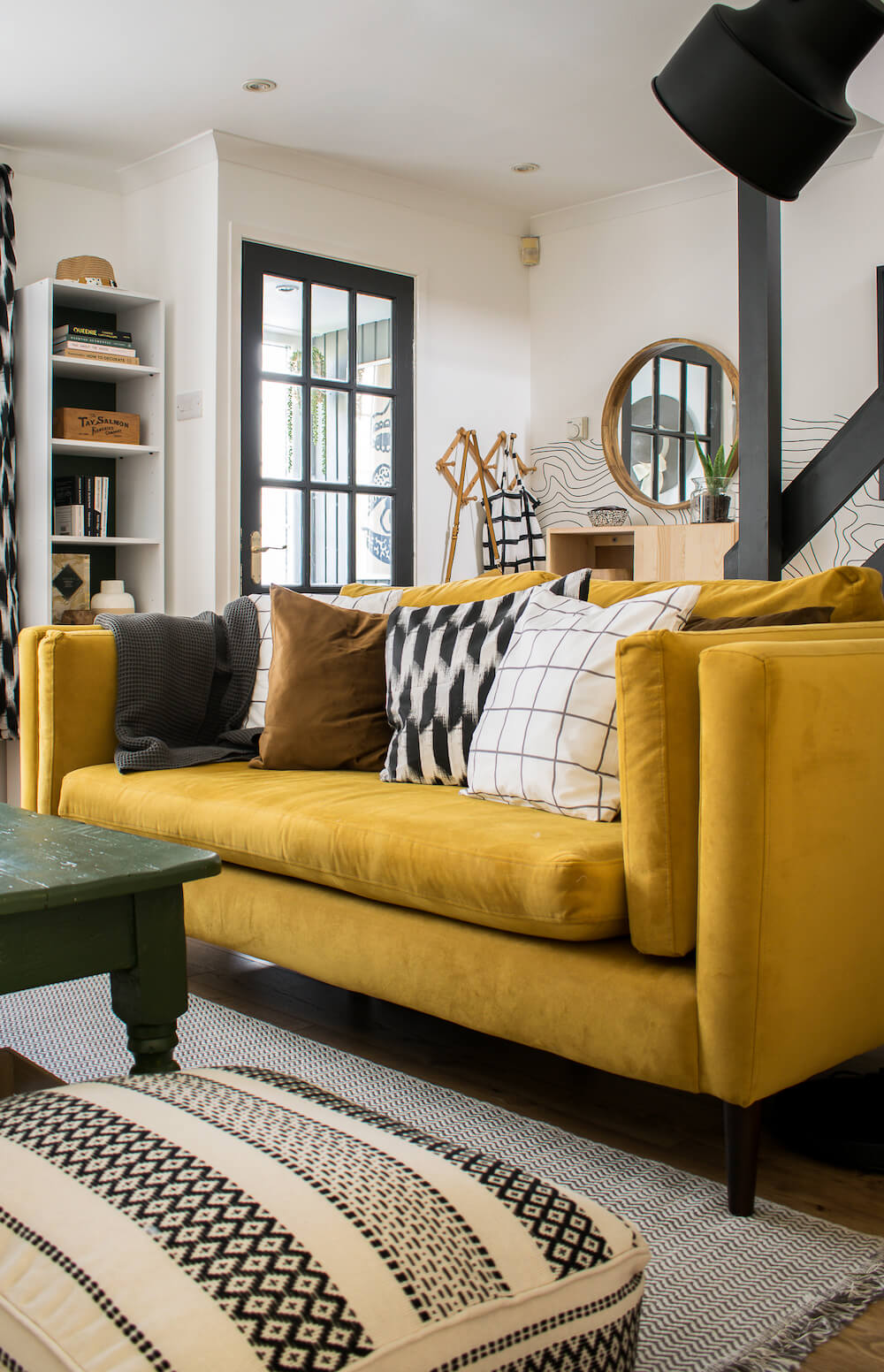 Spring living room tour with yellow sofa and DIY cushions