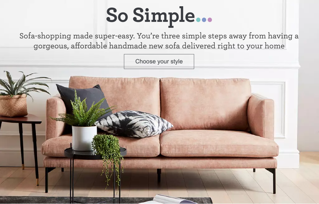 Buying a sofa online from dfs so simple range. Pictured is the THE TOM sofa from the range