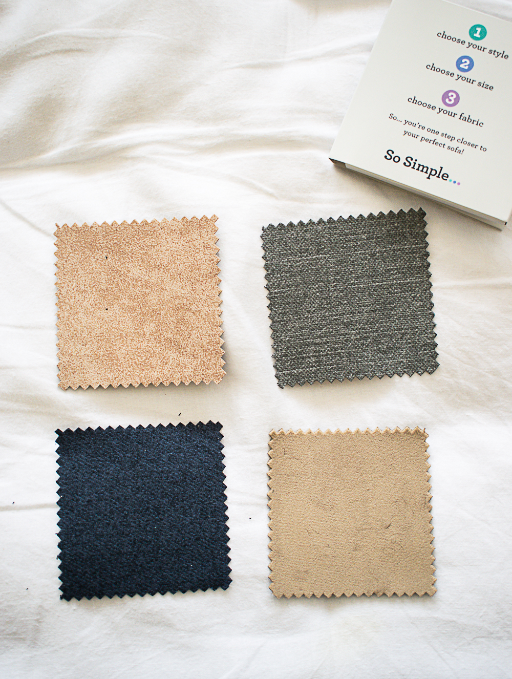 Image of 4 fabric samples from the so simple range