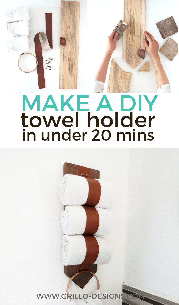 How to build a diy towel storage holder pinterest graphic