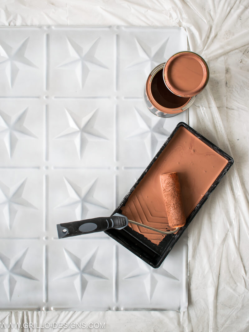 How to Paint Tin Tiles (and create a faux tile feature wall)