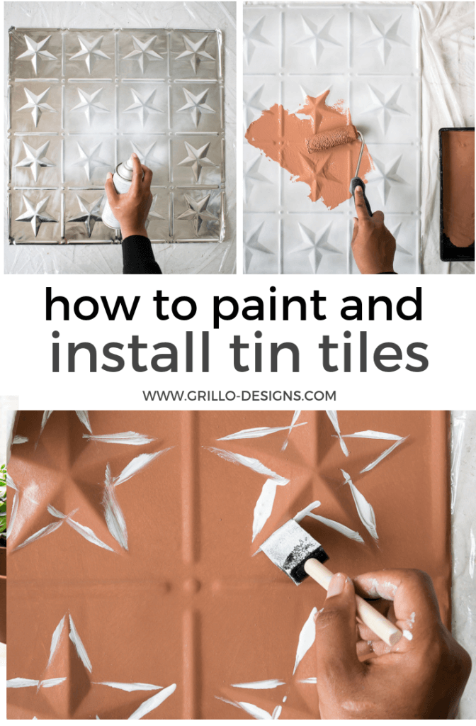 (AD) DIY painted tin tiles tutorial - Lean how to paint mettalic tin tiles to create a modern faux effect tile wall in collaboration with Rockett St George #tintile #tintiles #paint #wallpanels #featurewalls #fauxtile #paintedtile #tile #diy