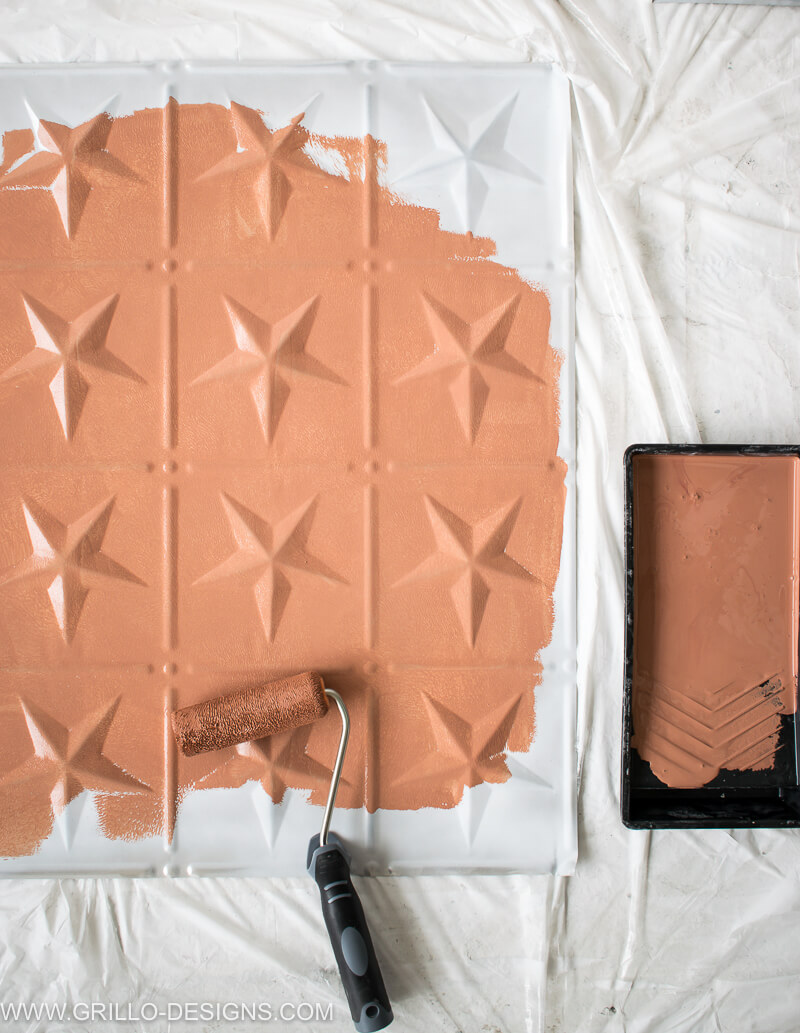 Apply paint to the entire tin tile with paint roller and tray