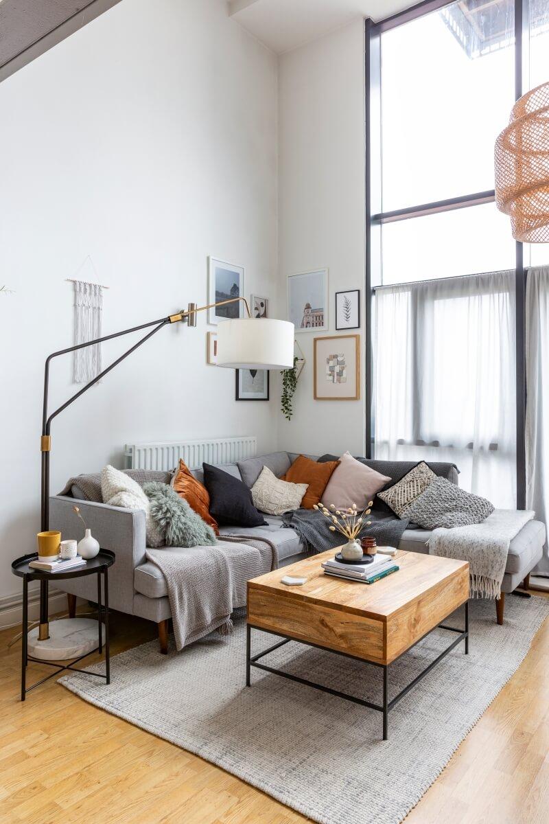 Corner west elm sofa in the Scandinavian style living room