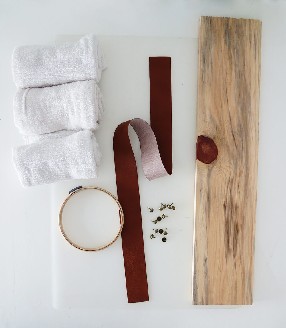 Picture of materials needed to make a diy towel storage holder.