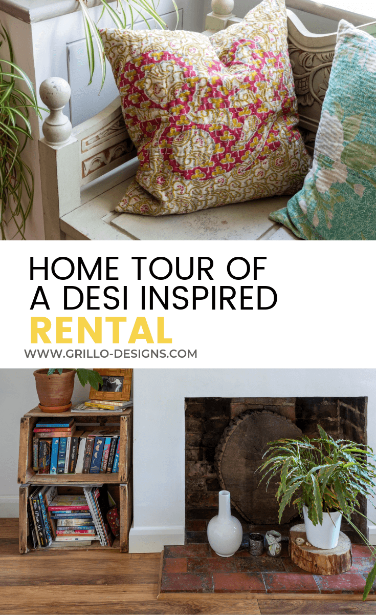Pinterest image for desi inspired rented home post