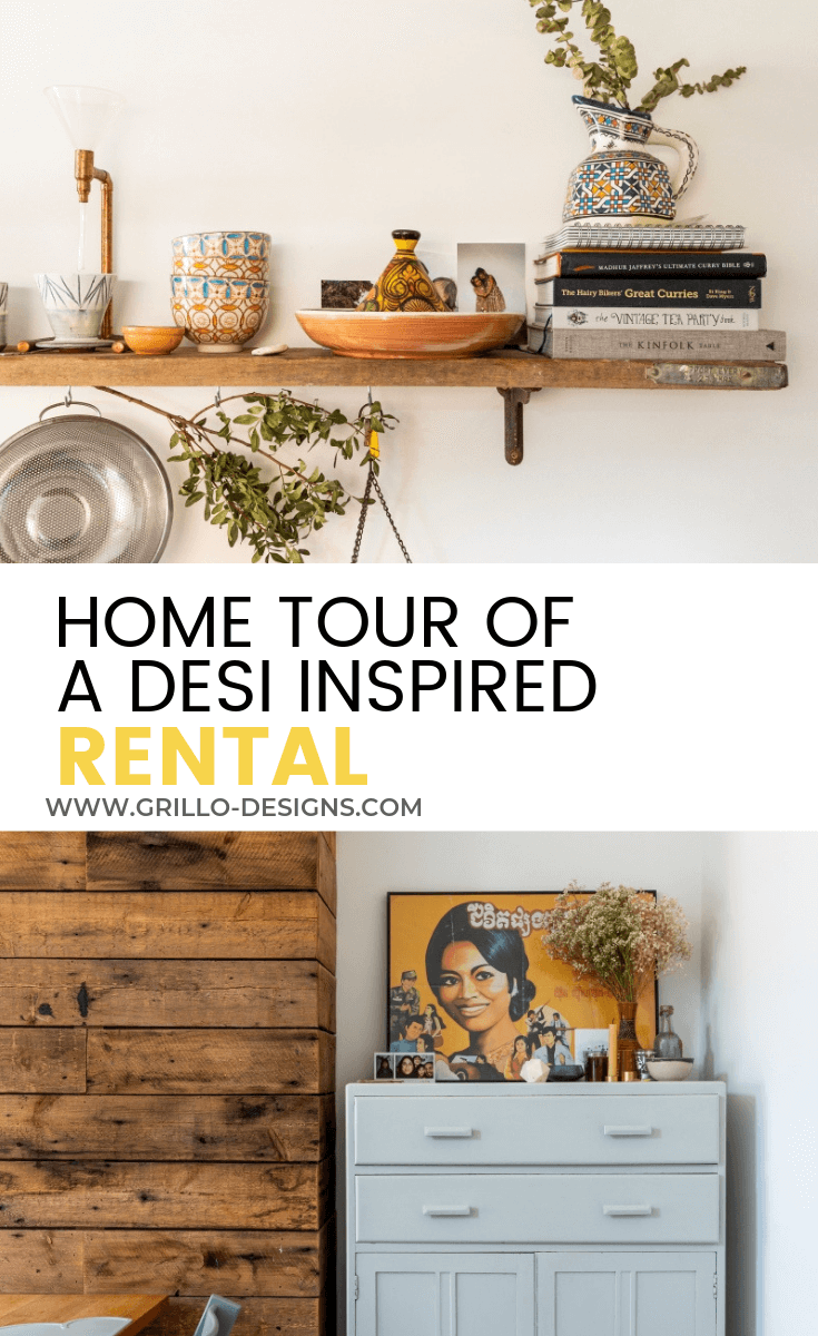 Pinterest image for desi inspired rented home video tour