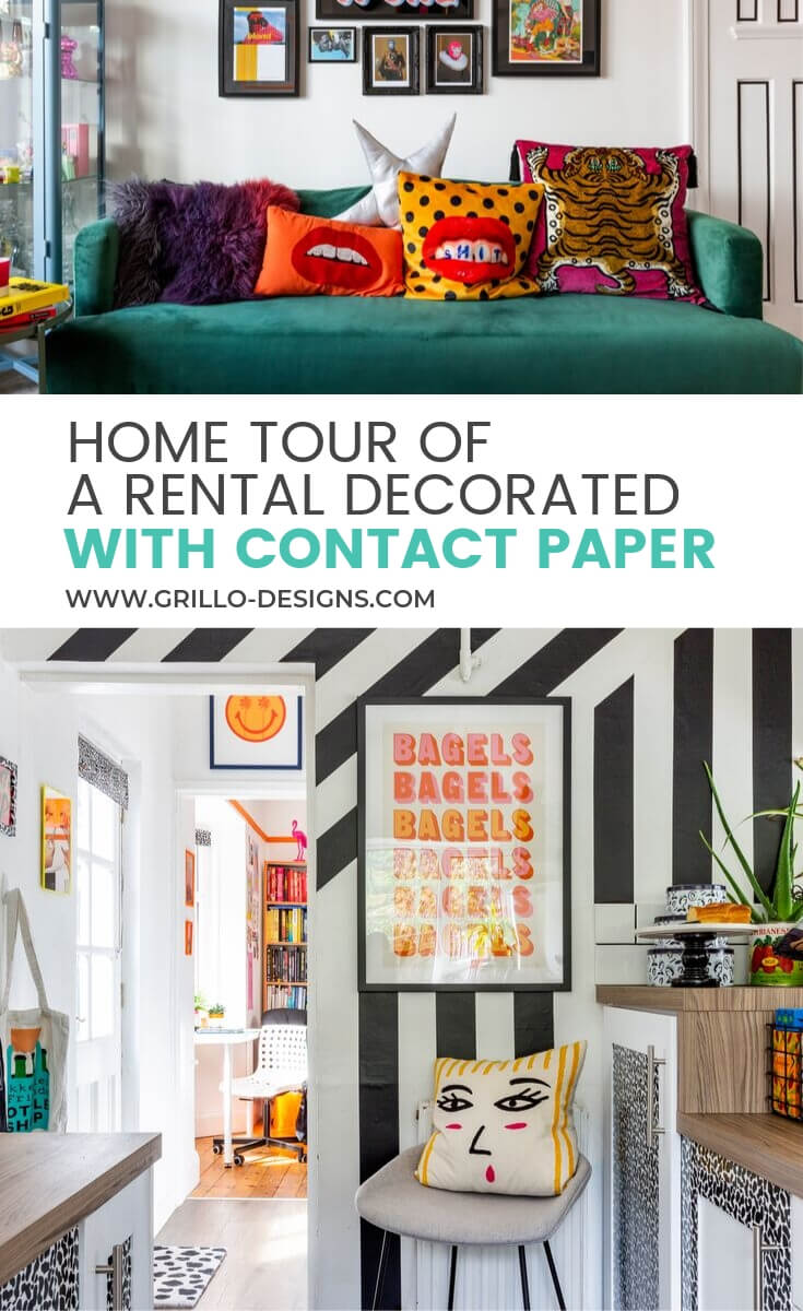 Decorated living room with contact papper