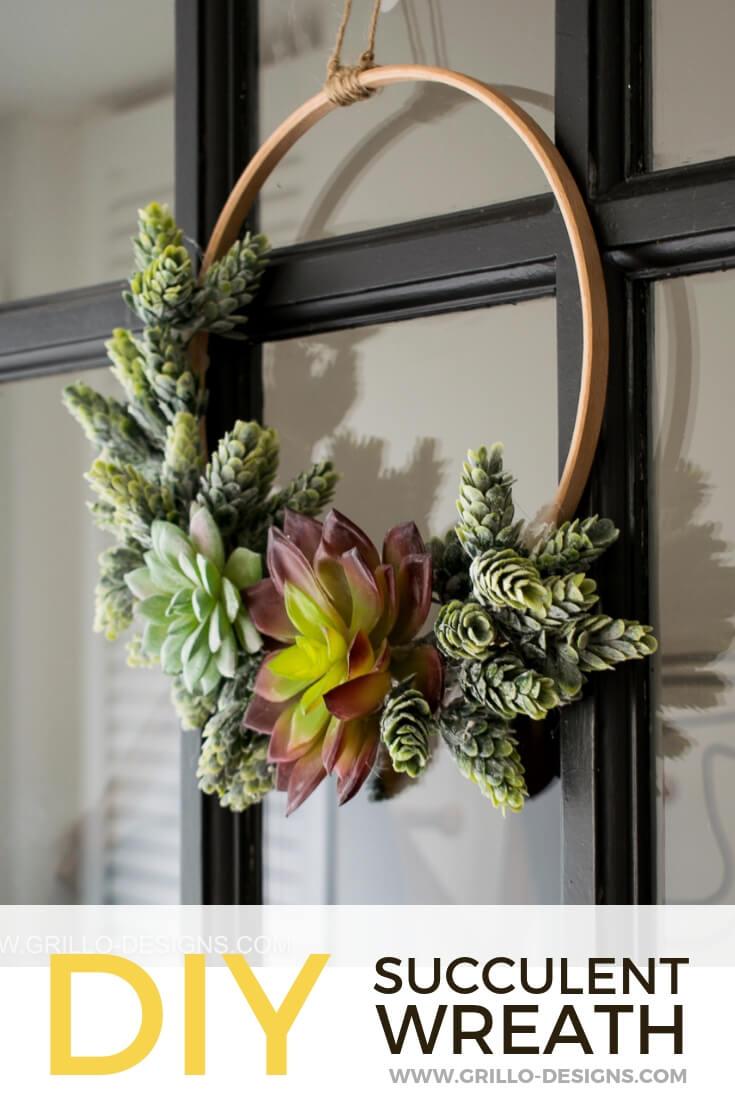 Diy Minimalist Succulent Wreath Tutorial Grillo Designs
