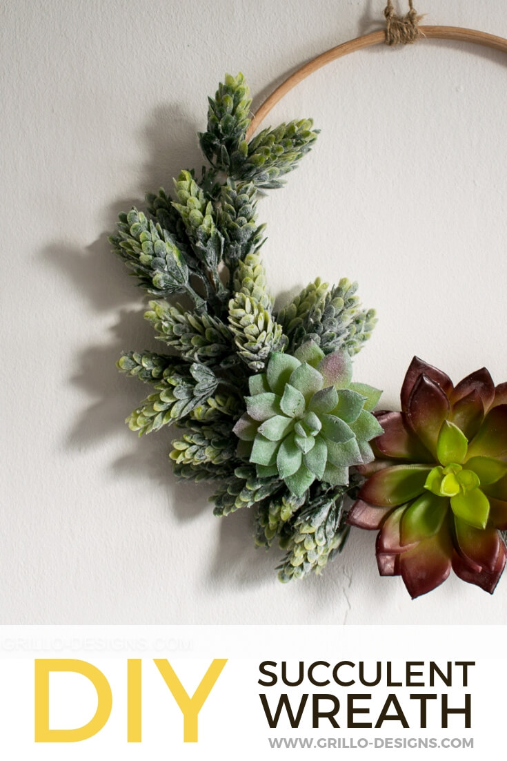 Succulent wreath hanging on the wall pinterest graphic