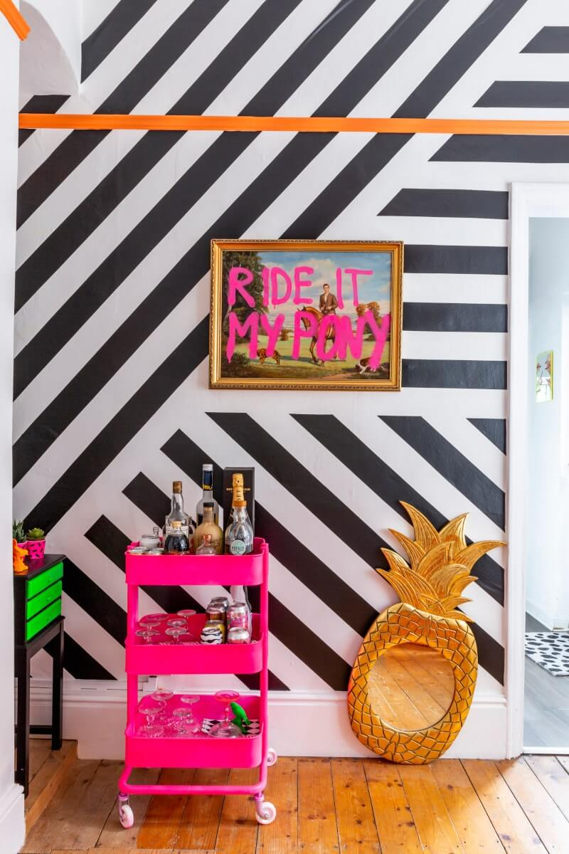 Black and white feature wall created using contact paper
