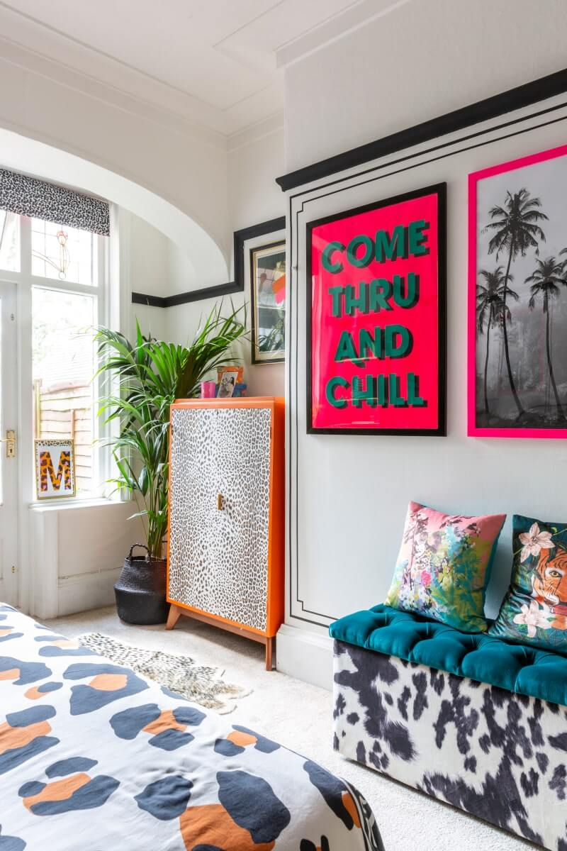 Maximalist style bedroom interiors decorated with contact paper