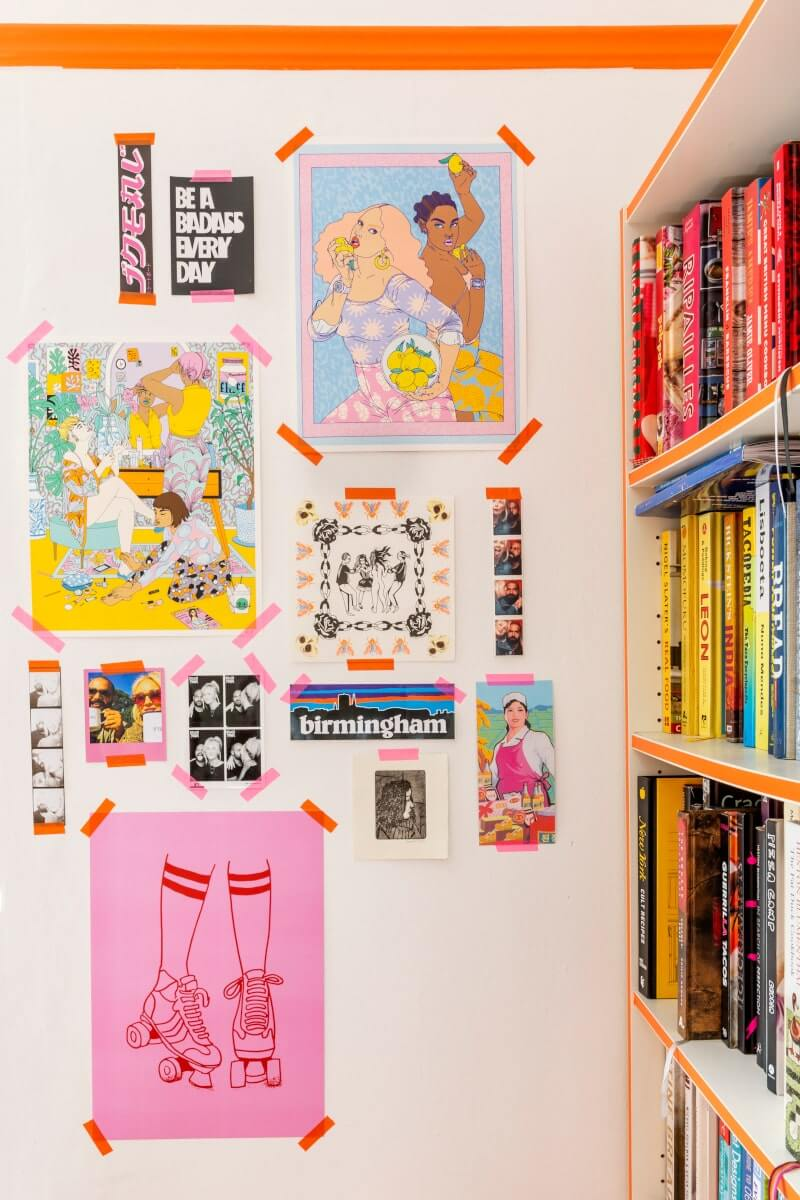 Colouful gallery wall with washi tape