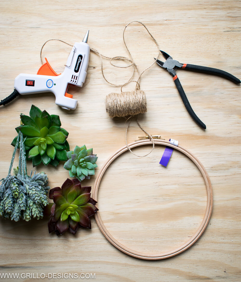 Materials needed to make a succulent wreath