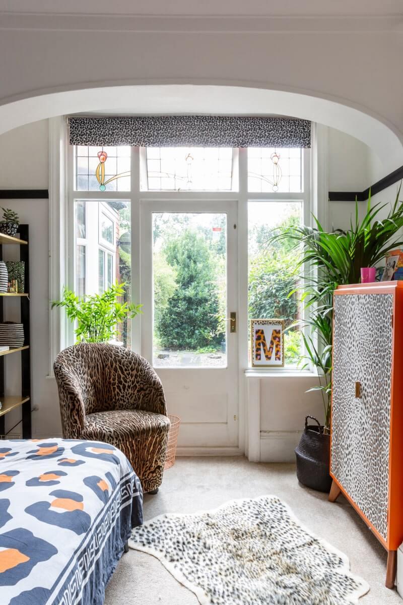 View of bedroom window in the maximalist style bedroom