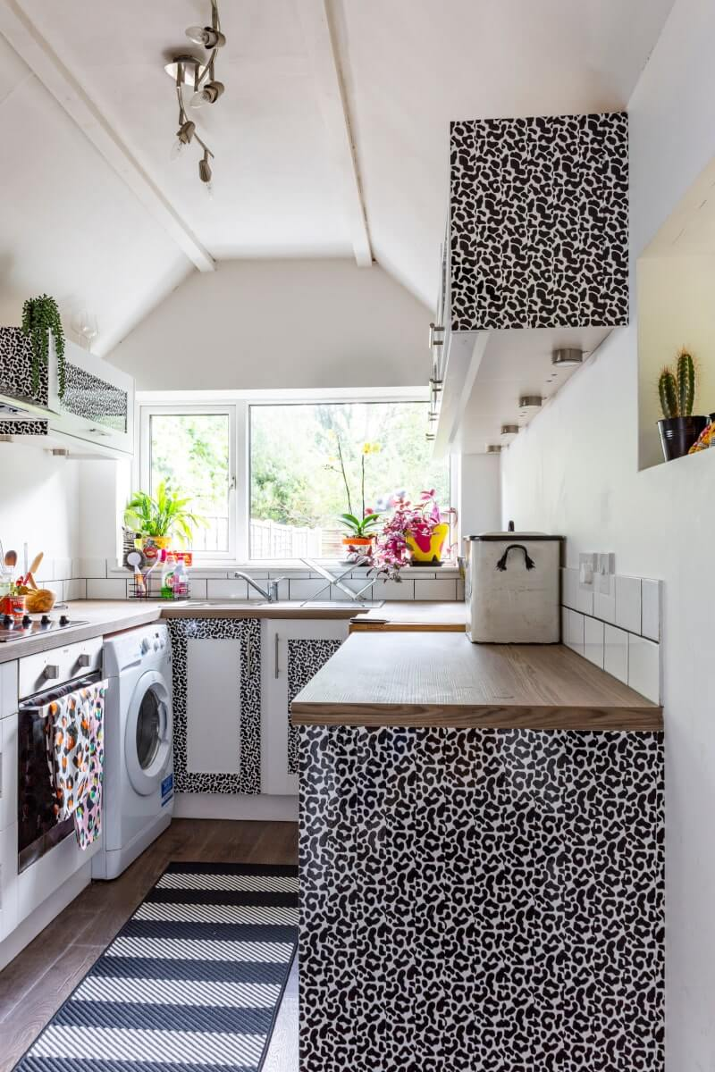 Kitchen cupboards decorated with contact paper