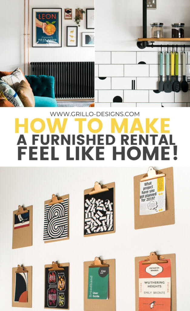 How to make a furnished rental feel like home pinterest graphic
